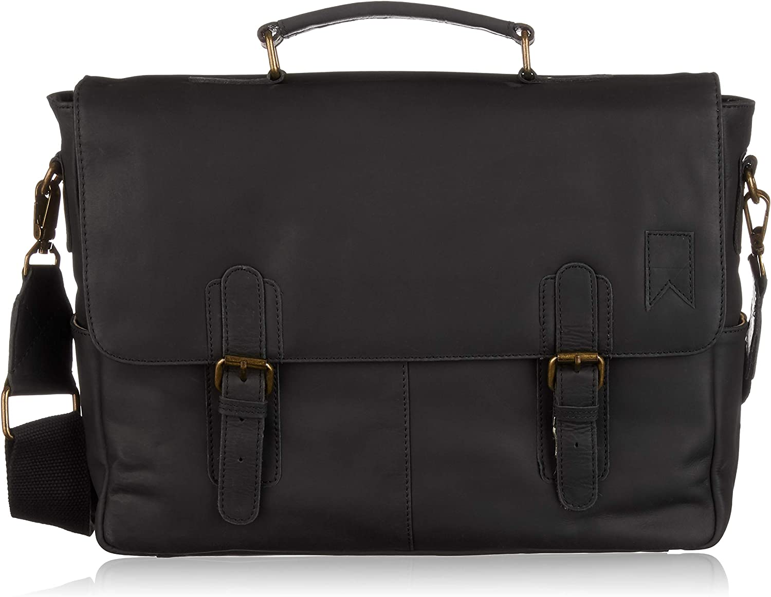 Navali Navigator Laptop Messenger Bag for 15in Laptops - Genuine Saddle Leather (Black)