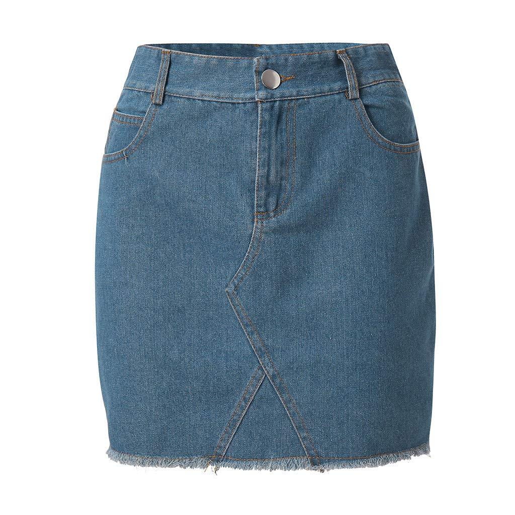 Pervobs Women Fashion Modern Denim Skirt Button Zipper Fly Open Boot Cut Mini Skirt Shorts with Pockets(2XL, Blue) by Pervobs Women Pants (Image #5)