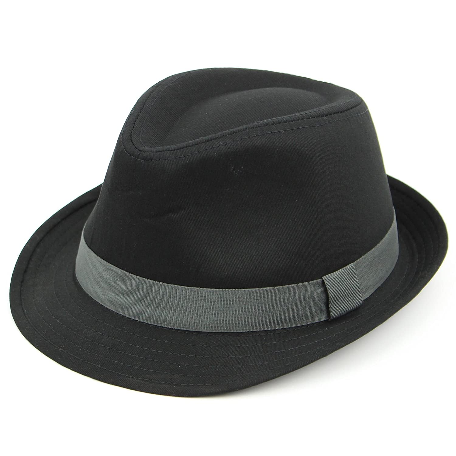 Cotton trilby hat black summer sun unisex grey band gangster