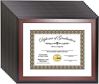 product image for flag connections [11x14mh-w] Mahogany Diploma Frame Holds 8.5 by 11 with or 11x14 Without Mat, Graduation Documents Include Stand and Wall Hangers (12-Pack)