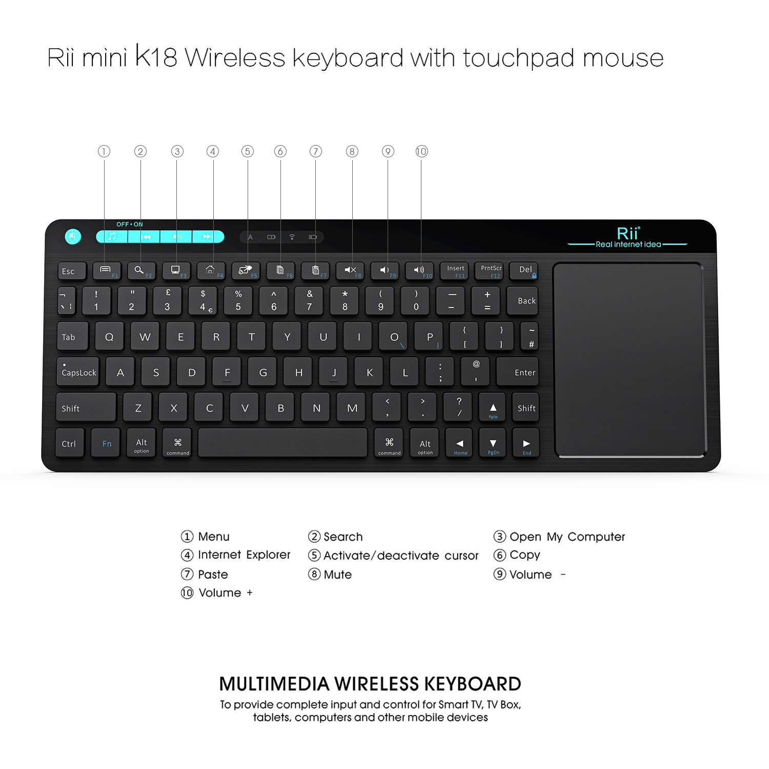 Rii K18 Touch Wireless Keyboard Black (UK Keyboard Layout QWERTZ)  All-in-One Keyboard With Touch Pad