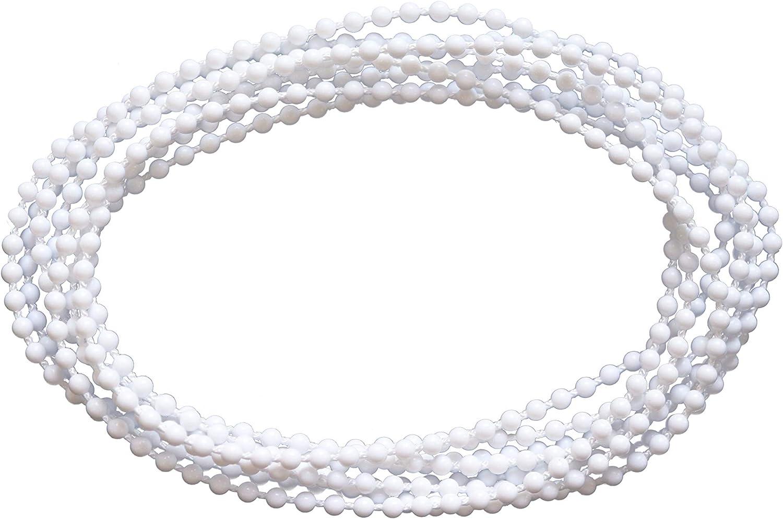 Easydeco Cadena para Estores enrollables - Blanca - Anillo Cadena 4,5x6 300 cm