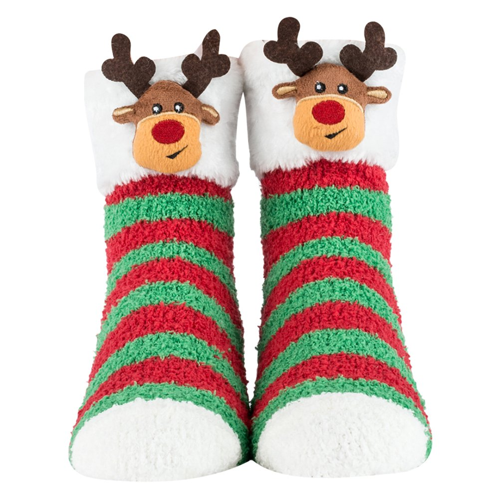 Cozy Socks for Women, Girls - Fuzzy Christmas or Birthday Socks with Santa, Reindeer, Puppies - Plush Socks Cozy Critter Socks (Bunny) 904-705A