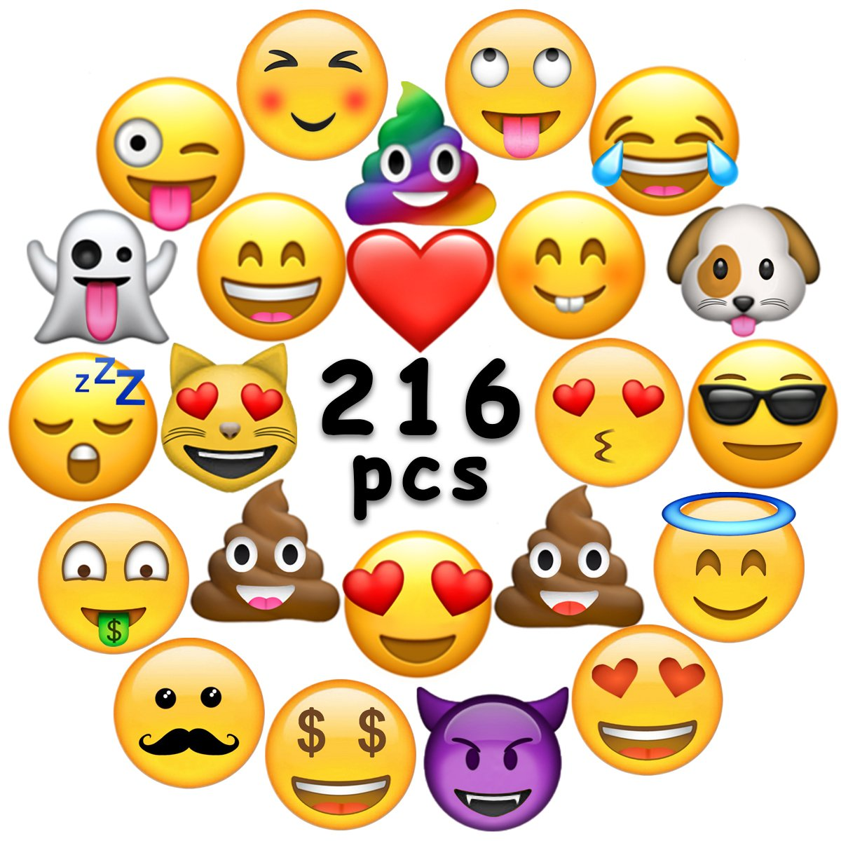 Ivenf Extra Large Fun Emoji Face Stickers, Teacher Reward Stickers for Prizes, Kids Party Supplies Favors Decoration Games, 36 Sheets 216 Pcs