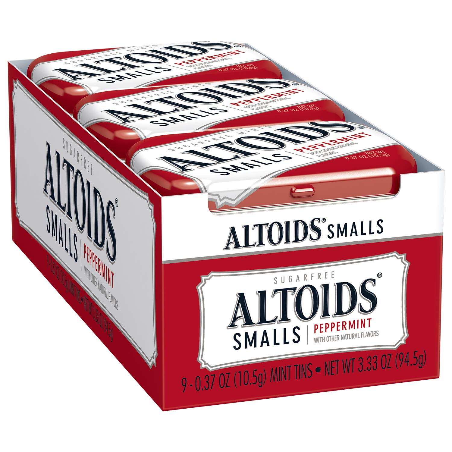 Altoids Smalls Peppermint Breath Mints 0.37 Ounce Tin Pack of 9