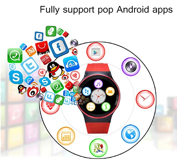 Amazon.com: Efanr S99 Round Bluetooth Smart Watch Android 5.1 Quad Core Wrist Phone SIM 3G GPS WIFI Camera Touchscreen Smartwatch Call Heart Rate Monitor ...