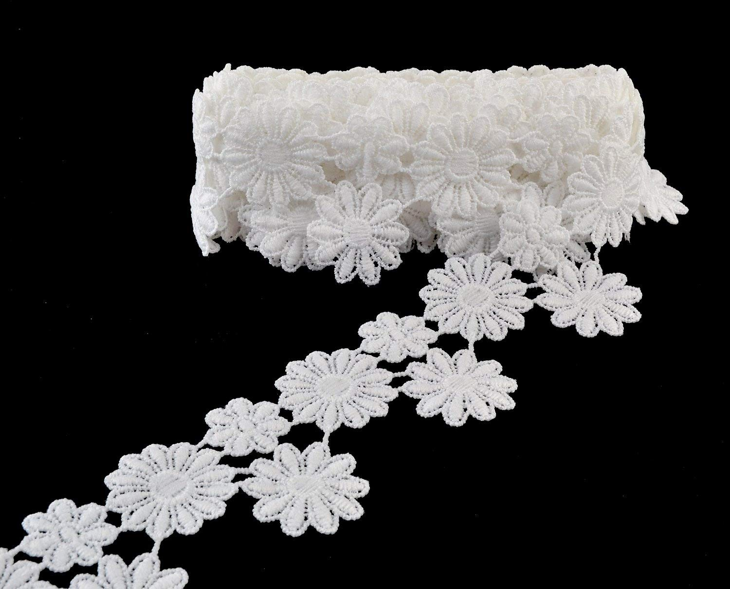 eZthings® Venise Edging Lace Trim From Eyelet Fabric For DIY Craft Venice Trims (3 Yard, Flower)