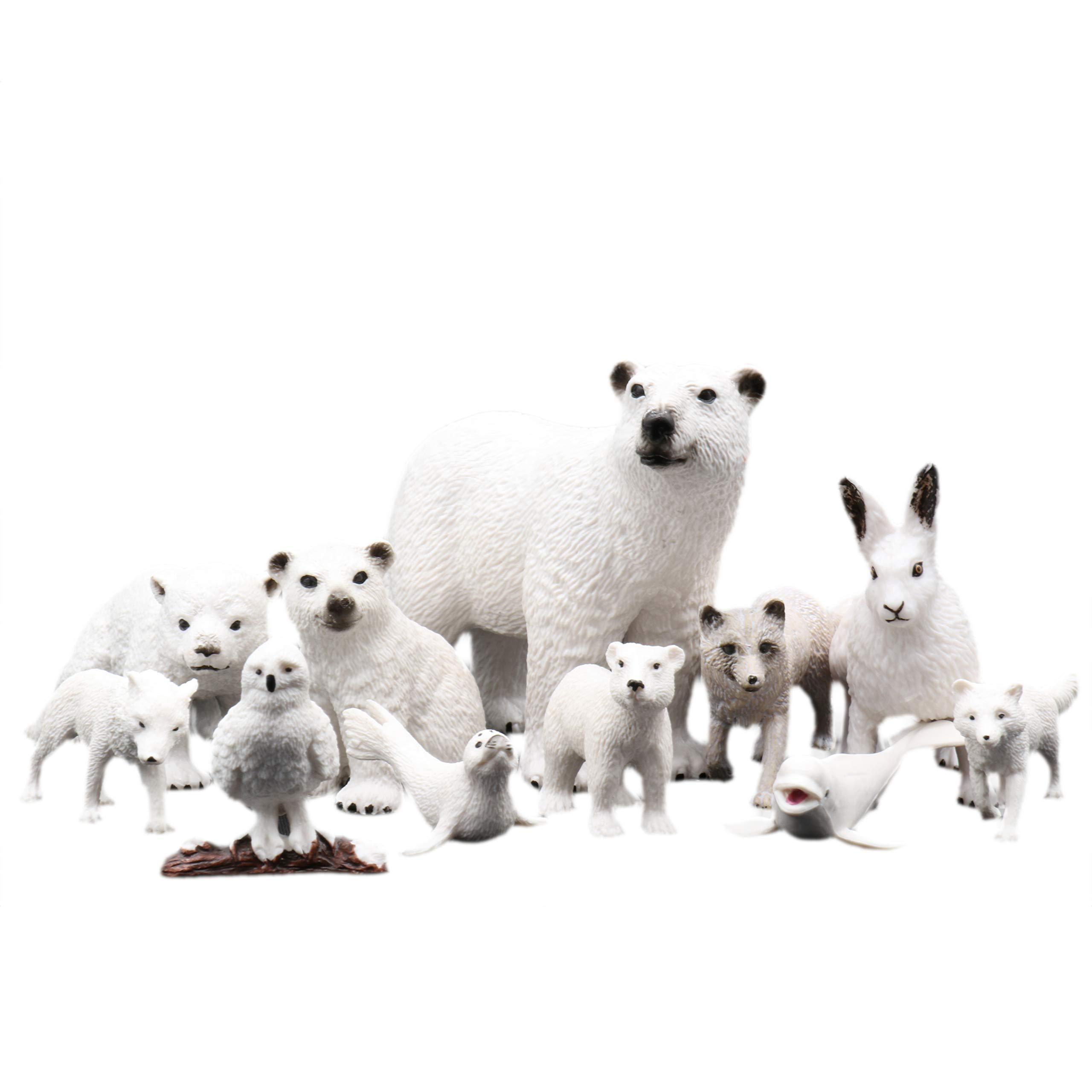 TMORU All White Animal Figurines Toys, Polar Bear Educational Preschool Christmas Birthday Gift Cake Toppers for Kids, Set of 11