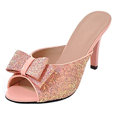 AIYOUMEI Damen Glitzer Peep Toe Stiletto High Heels Pantoletten mit Schleife Bequem Modern Pailletten Sandalen
