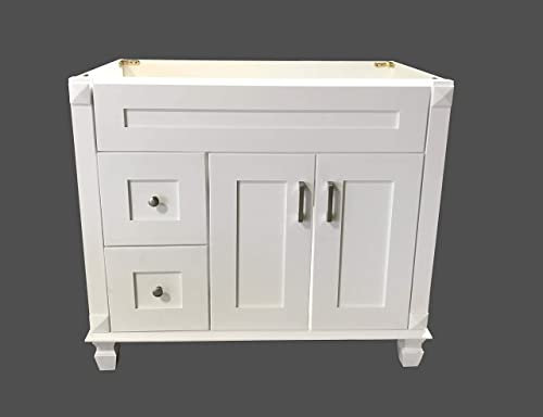 White Shaker Solid Wood Single Bathroom Vanity Base Cabinet 36 W x 21 D x 32 H Left Drawers