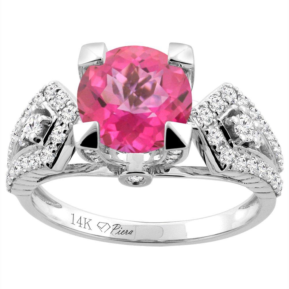 Amazon.com: 14K Gold Natural Pink Topaz Ring Round 7 mm Diamond ...