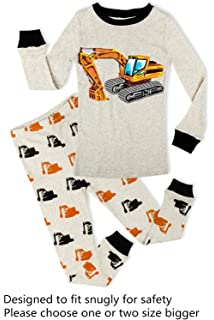 PHOEBE CAT Truck Boys Pajamas Toddler Sleepwear Clothes T Shirt Pants Set for Kids