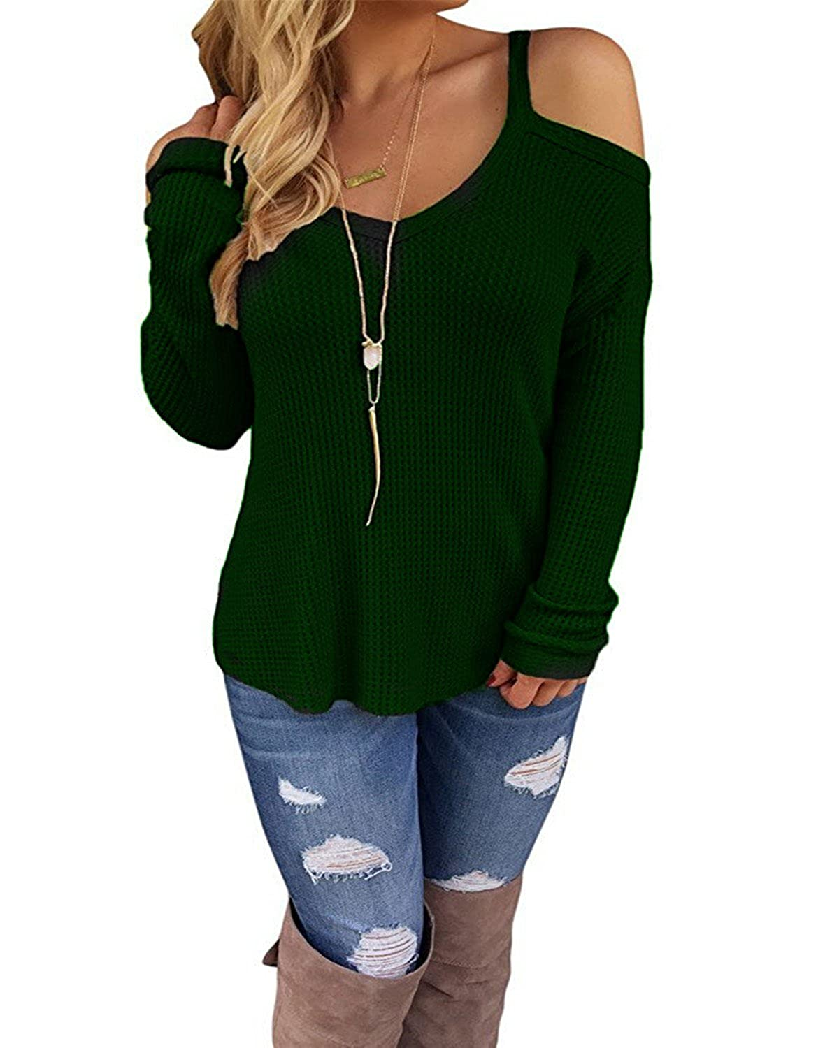 d7817318fd90b CNFIO Women s Cold Open Shoulder Tops Plain Shirts V Neck Long Sleeve Tee  Knitted Loose Casual Blouses at Amazon Women s Clothing store
