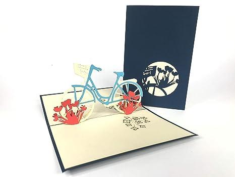 Vintage bicicleta Pop Up Tarjeta de felicitación, diseño de Mercedes-Benz coche aniversario feliz cumpleaños Pascua de bebé de la madre día gracias ...