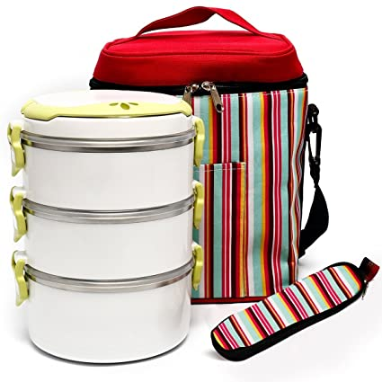 BOQUN 3 Layer Heat / Cold Insulated Lunch Box Portable Leakproof Round  Stainless Steel Food Storage