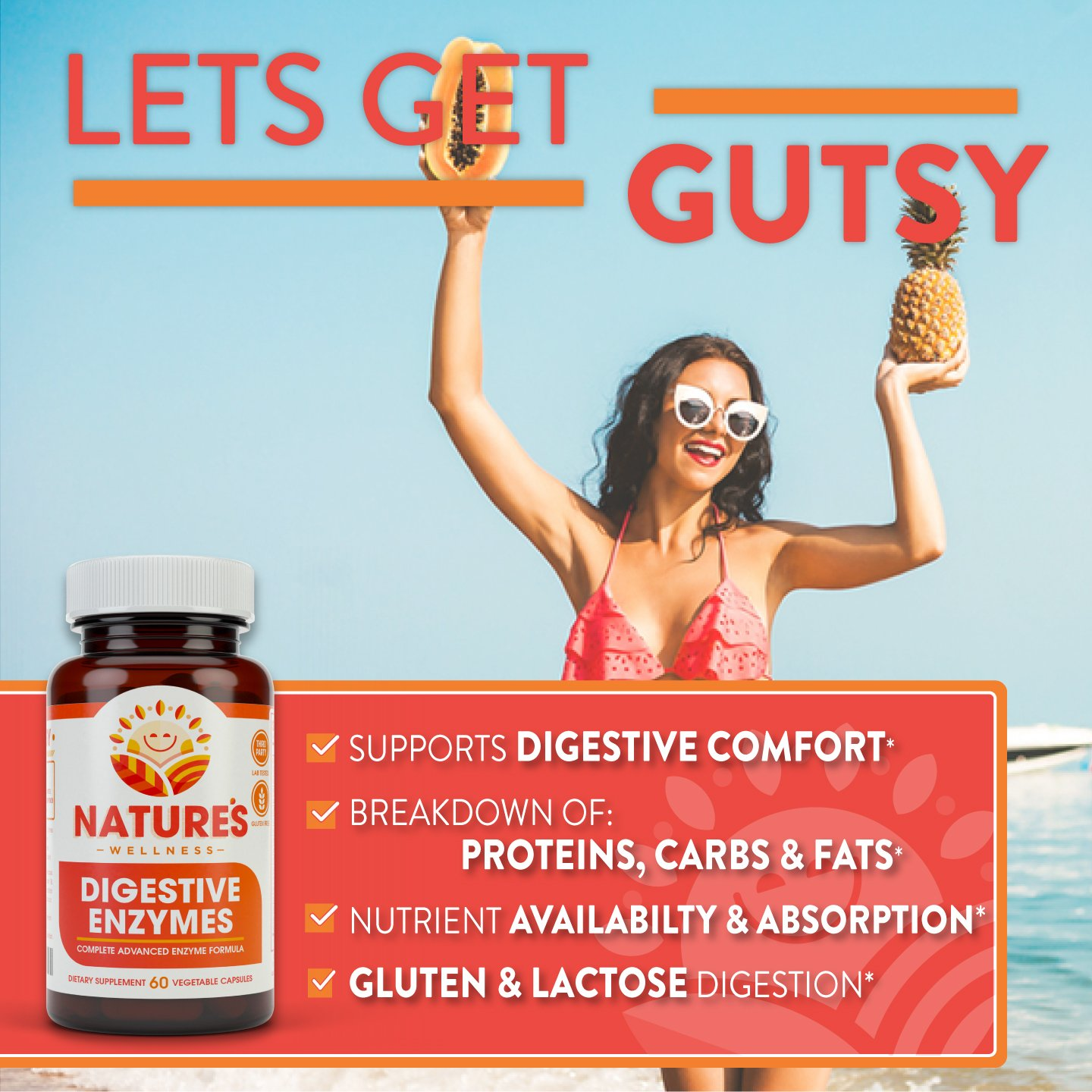 Digestive Enzymes Complete - Advanced Multi Enzyme Supplement for Better Digestion & Absorption. Help Gas Relief, Discomfort, Bloating, IBS, Gluten & Lactose Intolerance by Natures Wellness (Image #3)