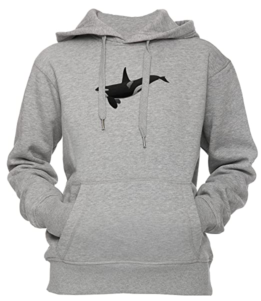 Ballena Asesino Unisexo Hombre Mujer Sudadera Con Capucha Pullover Gris Tamaño S Unisex Mens Womens Hoodie