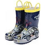 [KushyShoo] 長靴 キッズ レインブーツ ハンドル・収納袋付き 雨靴 女の子 男の子 男女兼用 梅雨対策 アウトドア 通園・通学用 13.5cm~21cm