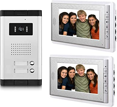 4 PCS 7 Inches Monitor Wired Video Doorbell for 4 Units Apartment Home 1 PCS Night Vision Camera AMOCAM Video door phone System,Video Intercom Kit Support Monitoring Unlock Dual Way Intercom