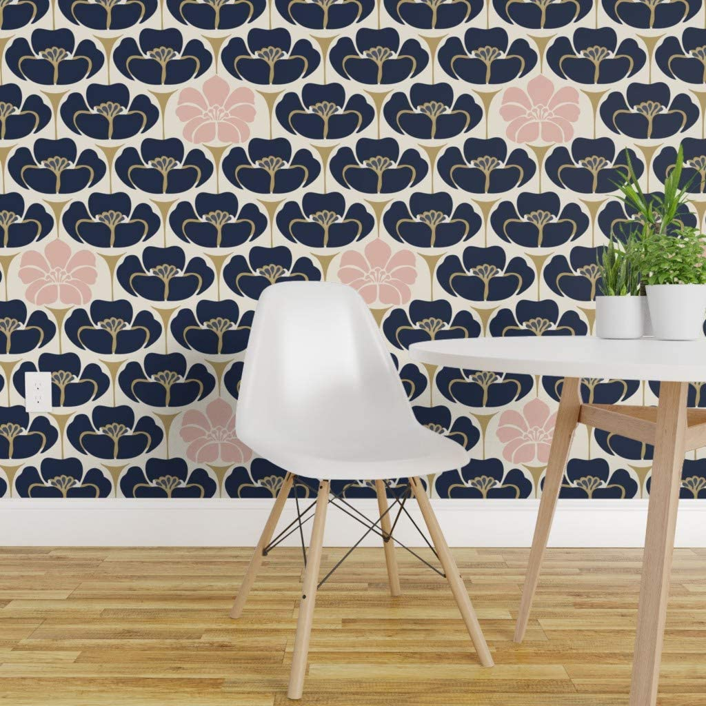 Spoonflower Peel And Stick Removable Wallpaper 1920s Floral Art