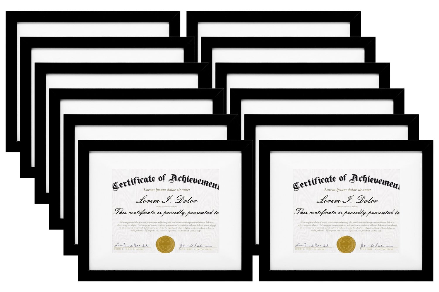 MeiC 12 Pack 11x14'' Wall Mounting Photo Document Frames for 8.5x11 with Mat 11x14 without Mat Black