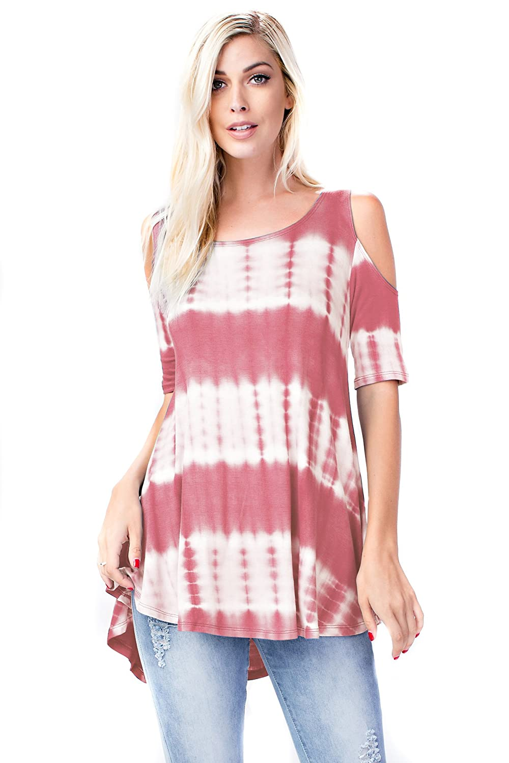 Coral Tiedye Allora Betsy Red Couture Women's Cold Shoulder Soft Knit Tunic Top (S3X)