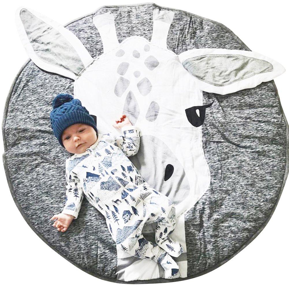 Lzttyee Cotton Round Giraffe Nursery Rug Baby Floor Playmats Crawling Mat Game Blanket for Kids' Room Decoration Dark Gray by Lzttyee