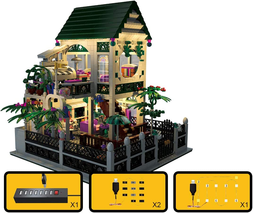 1500Pcs Dollhouse Model with Light WOLFBSUH Romantic Cottage Kits Building Blocks House Model Building Kit,Gift for Children and Adult