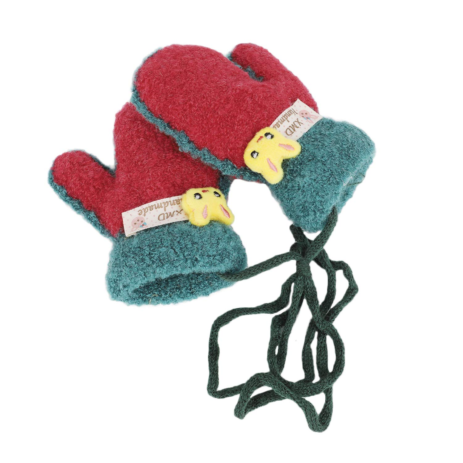 Babies Toddler Winter Soft Warm Short Knitted Gloves Thick Plush Lining Mittens