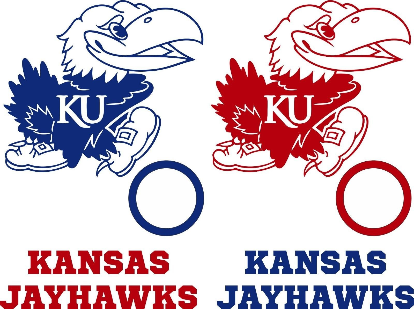 Kansas Jayhawks Cornhole Decals - 6 Cornhole Decals With Circles