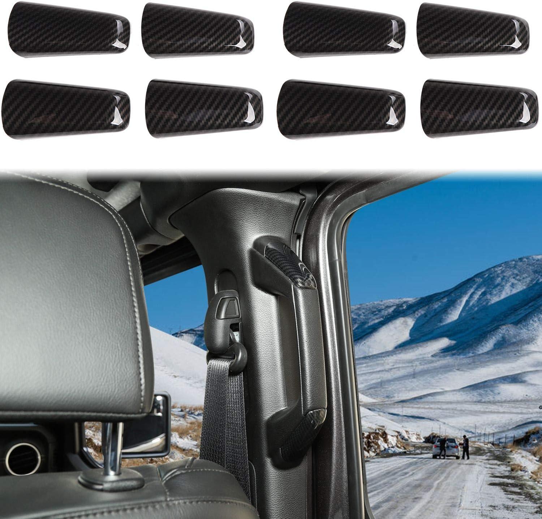 Voodonala for Jeep JL ABS Carbon Fiber A/&B Pillar Grab Handles Trim for 2018-2020 Jeep Wrangler JL JLU Gladiator JT 8pcs