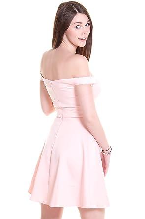a0ddd44d1d2e Asos Bardot Scuba Off Shoulder Skater Dress in Black or Pink (UK 14, Blush