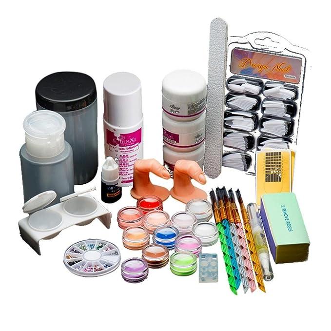 Amazon.com: Anboo 19 Pro Nail Art Set Tips Glitter Powder Liquid ...