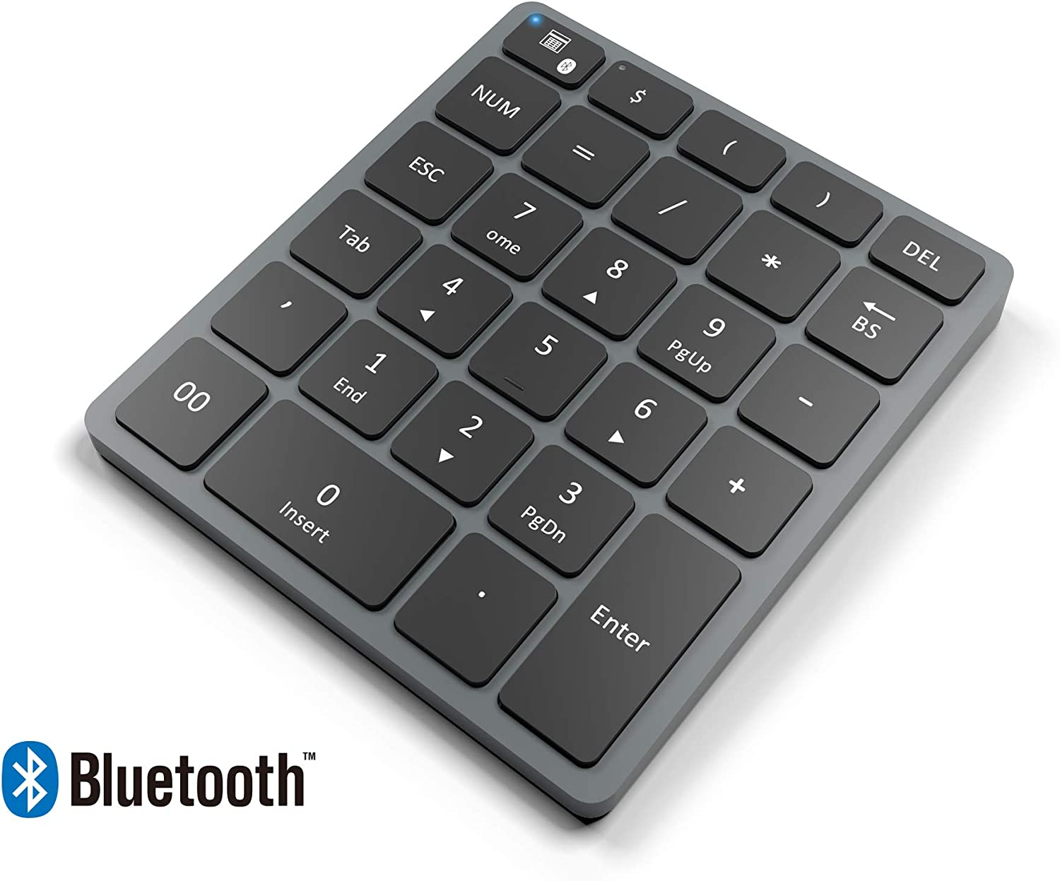 Bawanfa Teclado numérico inalámbrico Bluetooth, Delgado Portátil Numérico Inalámbrico Bluetooth Recargable 28 Teclas de tecladopara Data Entry de Contabilidad financierapara, para PC y portátiles