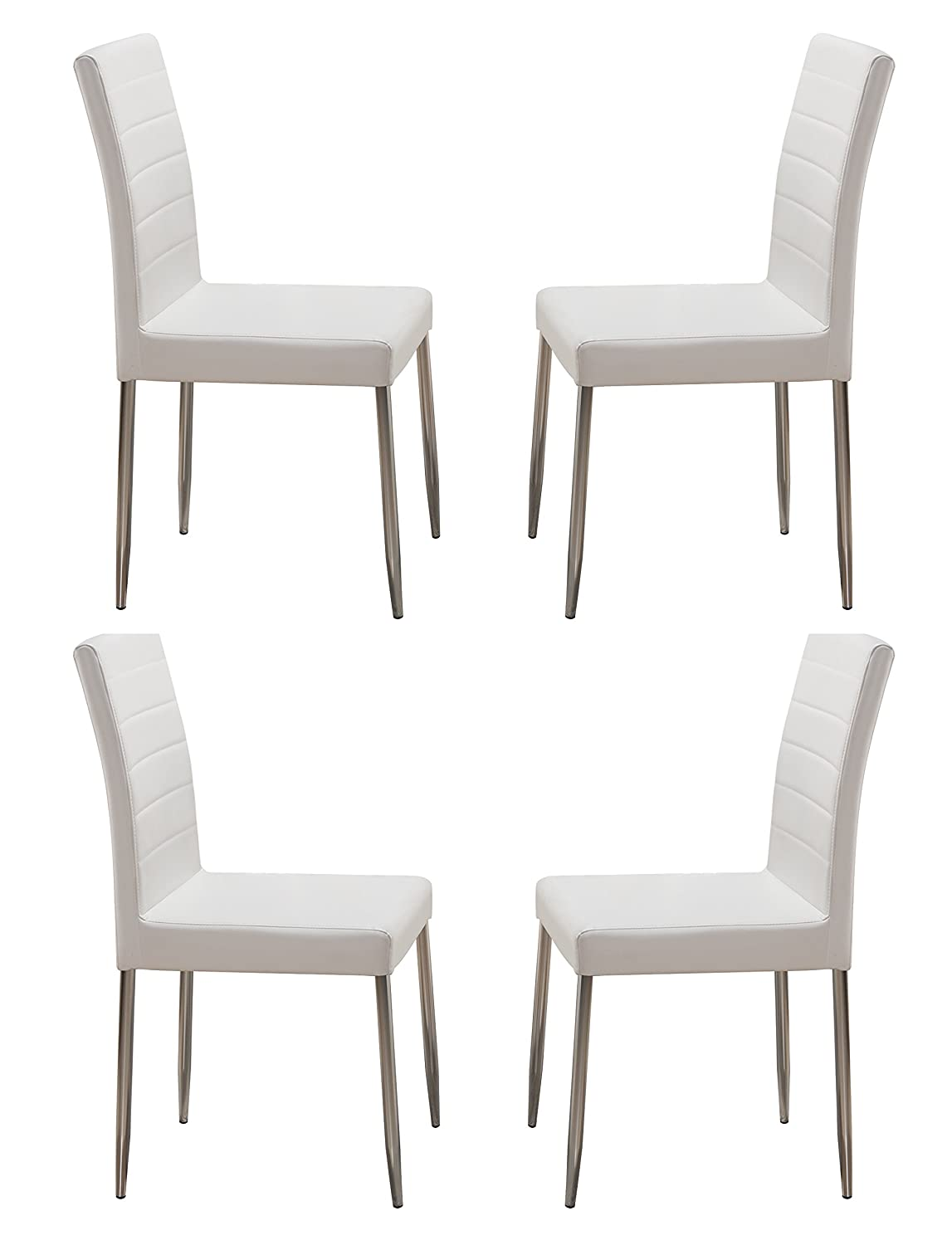 Kings Brand Furniture Parson Chairs with Chrome Legs (Set of 4), White
