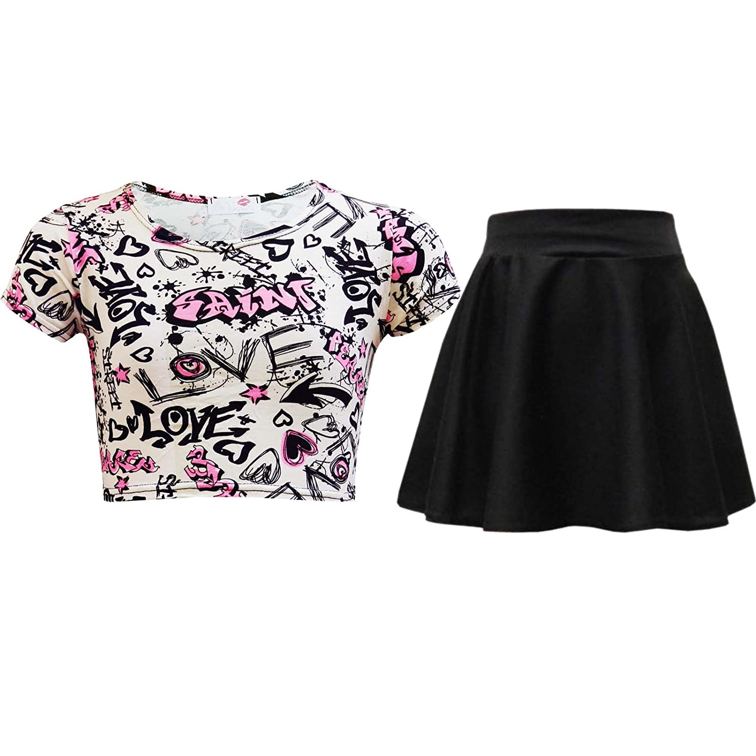 f783971c04961d Amazon.com  Kids Girls Love Graffiti Crop Top   Black Skater Skirt Set 7 8  9 10 11 12 13 Yr  Clothing