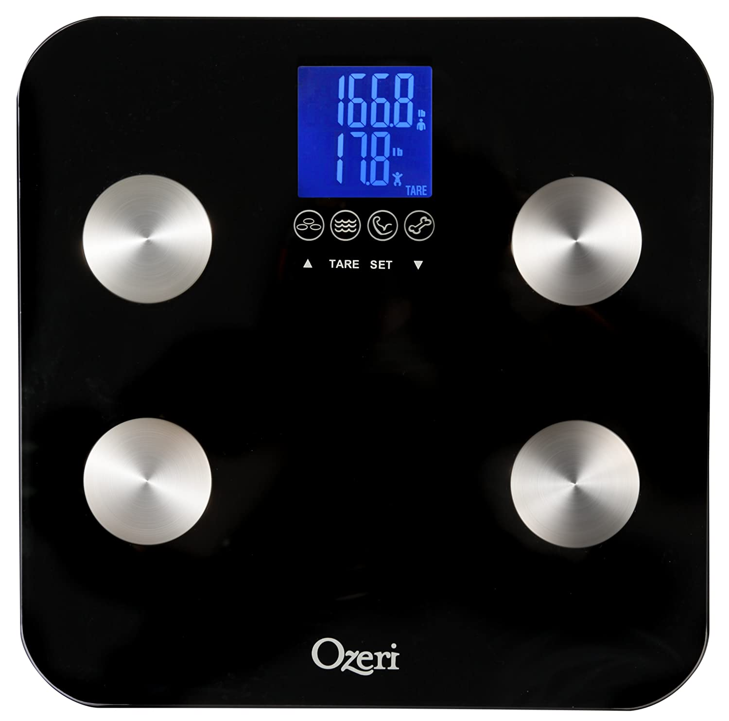 Ozeri Touch 200 KG / 440 LBS Total Body Bathroom Scale - Measures Weight, Body Fat, Hydration, Muscle and Bone Mass with Auto Recognition and Infant Tare Technology