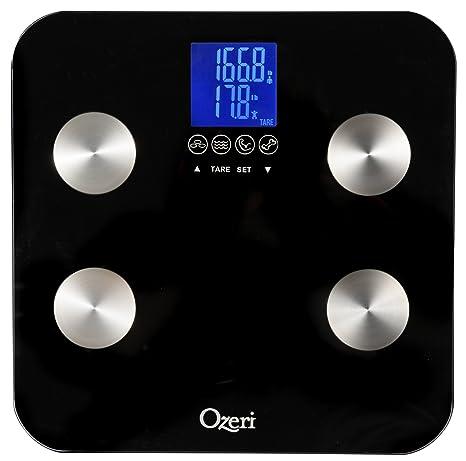 Ozeri Touch ZB13, Báscula corporal, capacidad 200 kilograms, mide peso, grasa,