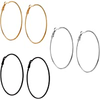 Fresh Vibes Triplet Combo of Silver Golden & Black Big Round Hoop Earrings for Women | Fancy & Stylish Party Wear Single Circle Metallic Earings for Girls (5)