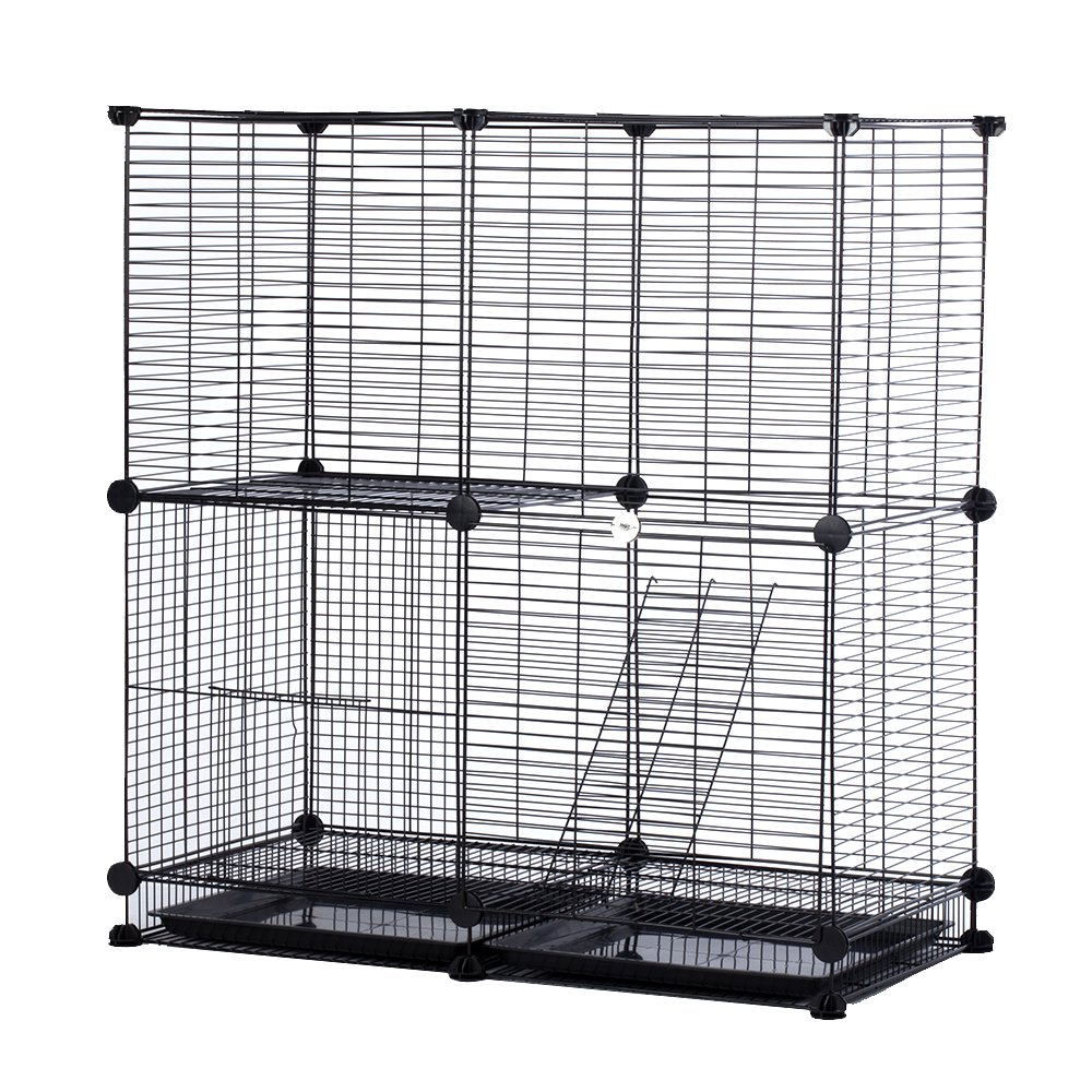 Modular Add-Up Small Cat (Kitten) Small Dog (Puppy) Cage Playpen Series CW63088 (Black Basic) by CHEERWEPET (Image #1)