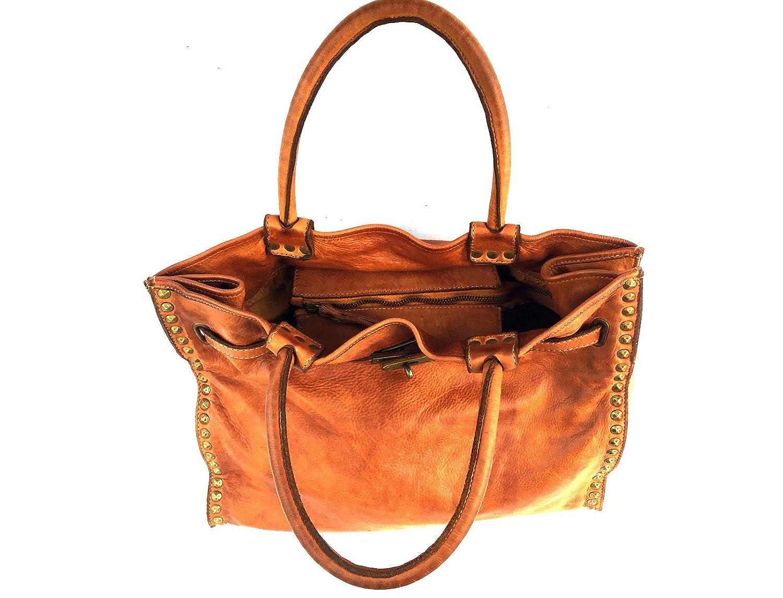 Superflybags handväska modell Vanessa i äkta tvättad läder vintage tillverkad i Italien Konjak