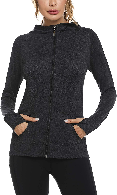 Sykooria Womens Long Sleeve Sports Running Jacket Training Lightweight Track Workout Jackets For Women Full Zip