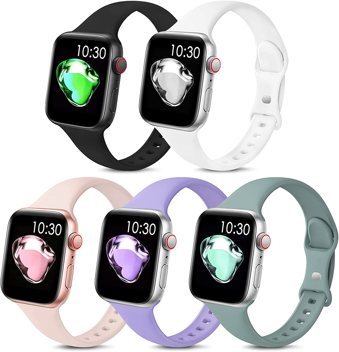 5 Pack Sport Slim Bands Compatible with Apple Watch Bands 38mm 40mm 42mm 44mm Women Men,Thin Silicone Soft Replacement Strap Wristband for iWatch Series 6 5 4 3 2 1 SE(38MM/40MM,Color1)