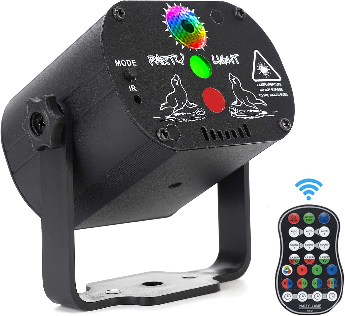 Laser Lights,DJ Disco Stage Party Lights Sound Activated RGB Led Projector Time Function with Remote Control for Christmas Halloween Decorations Gift Birthday Wedding Karaoke KTV Bar