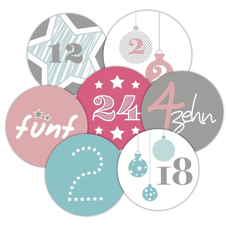 Frau WUNDERVoll 24 Adventskalenderzahlen Aufkleber, für 1 Kalender, bunt, Durchmesser 4cm für 1 Kalender