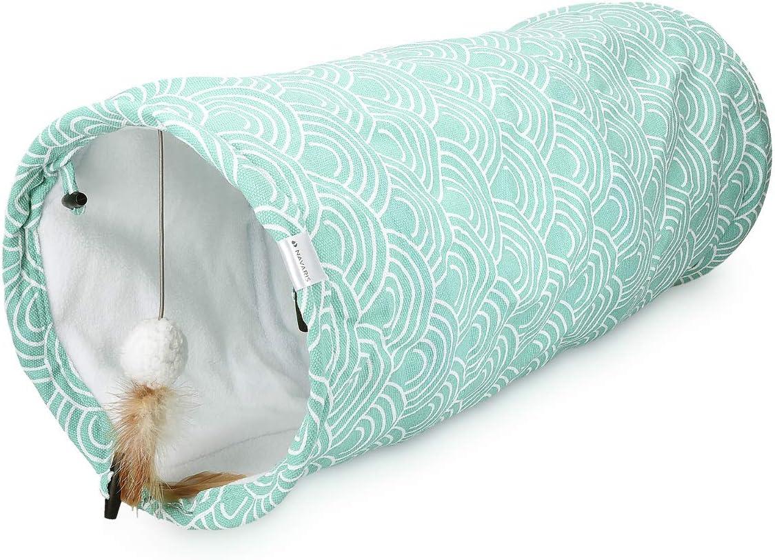 Navaris Túnel para Gatos con Juguetes - Tubo Plegable con Juegos para Hacer Ejercicio - Refugio para Gatos Conejos Cachorros y Otras Mascotas