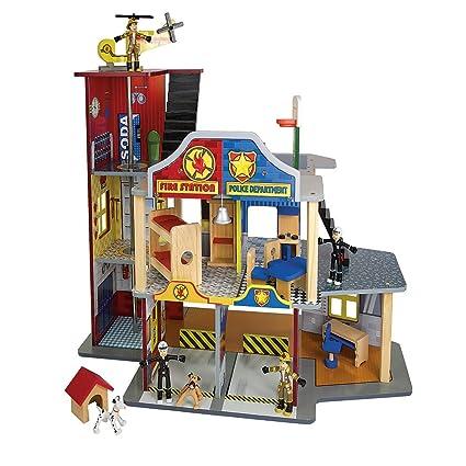 Amazoncom Kidkraft Toy Fire Station Police Station Play Set