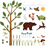 Forest Wall Sticker Set – 37 Peel & Stick Woodland Decals for Nature Theme Baby Nursery and Kids Forest Room