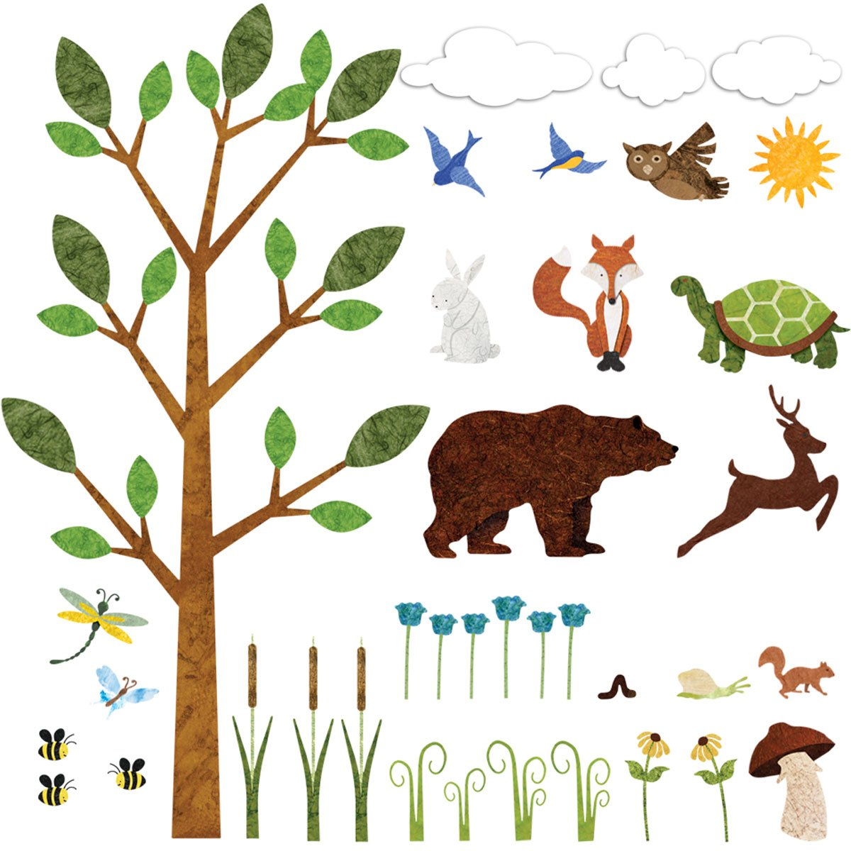 forest wall sticker woodland decals nature wildlife decor baby kids nursery new ebay. Black Bedroom Furniture Sets. Home Design Ideas