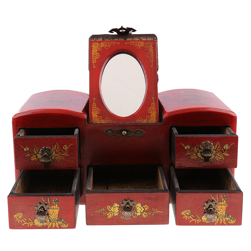 MagiDeal Retro Jewelry Storage Old Drawer Chinese Wooden Dressing Table with Mirror by MagiDeal (Image #1)